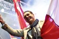 Head of Austrian Freedom Party Strache gestures during the final election rally in Vienna. Photo: AFP