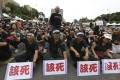 Demonstrators chant slogans during a protest against President Ma Ying-jeou outside the presidential office in Taipei. Photo: Reuters