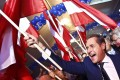 Head of the Freedom Party (FPOe) Heinz-Christian Strache celebrates with his supporters after the Austrian general election in Vienna. Photo: Reuters