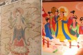 Photos from eastday.com show an original painting  and one that replaced it at the Yunjie Temple in Chaoyang, Liaoning.