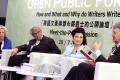 Jung Chang (second from right), Erica Jong, Sir David Tang and William Shawcross (right) at a writers forum in Hong Kong. Photo: Edward Wong