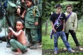 Luther Htoo (left, centre) and Johnny at their Myanmar jungle camp in 1999. Right, the twins in western Thailand earlier this year. Photos: AP
