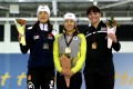 Wang Beixing of China (left) Lee Sang-hwa of South Korea and Heather Richardson at the Utah Olympic Oval. Photo: AFP