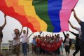 Gay rights activists in Hunan province during a demonstration. Photo: Reuters