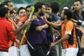 The on-pitch altercation sparked by Khalsa player Harpreet Singh's rude gesture. Photo: Edward Wong