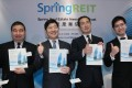 (Left to right) Spring REIT managing director Don Lau Jin-tin, chairman and non-executive director Toshihiro Toyoshima, managing director Nobumasa Saeki and senior vice-president Michael Chung Wai-fai announce the global offering in Admiralty. Photo: Edmond So