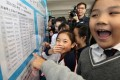 Pupils check the board yesterday to see if their siblings will be joining them at the Sheung Shui Wai Chow Public School next year. Some 79 of 300 first-round applicants were admitted. Photo: Nora Tam