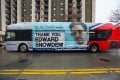An advertisement thanking NSA leaker Edward Snowden appears on the side of a Metrobus in downtown Washington. Photo: EPA