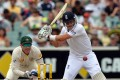 England batsman Joe Root hit 87 and shared in a defiant 111-run partnership with Kevin Pietersen (53) to help force the second Ashes test into a final day. Photo: AFP