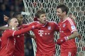 Franck Ribery (left) celebrates another goal with David Alaba, Thomas Mueller and Mario Mandzukic. Photo: Reuters