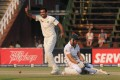 India bowler Zaheer Khan celebrates after South Africa batsman Faf du Plessis is run out after making 134. Photo: AFP