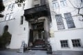 The damaged entrance of the Chinese consulate in San Francisco. Photo: Reuters