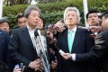 Former prime ministers Morihiro Hosokawa (left) and Junichiro Koizumi meet the press to cement their solidarity against Shinzo Abe and his plan to reintroduce nuclear power. Photo: AFP