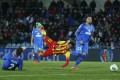 Barcelona's Neymar takes a tumble after a tackle in their match against Getafe. Photo: AP