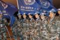 Chinese peacekeepers wearing blue UN berets in Bamako. Photo: Xinhua