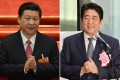 Combination of pictures shows Chinese President Xi Jinping and Japanese Prime Minister Shinzo Abe. China has ruled out any formal meeting between Abe and Xi at the Sochi Games. Photo: AFP