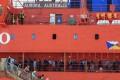 Australian icebreaker Aurora Australis arrives in Hobart on Tuesday. Photo: EPA