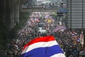 Anti-government protesters take part in a rally in central Bangkok. Photo: Reuters