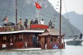 The sunken boat Dream Voyage is being salvaged in Ha Long Bay. Photo: EPA