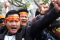 Protesters shout anti-China slogans during the rally. Photo: AFP