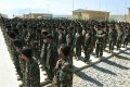 Afghan National Army soldiers stand in formation during a ceremony at Bagram prison. Photo: AFP