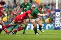 Cian Healy powering through against Wales last time out. Photo: EPA