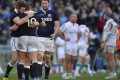 Scotland players celebrate after winning the Six Nations match against Italy in Rome. Photo: AFP
