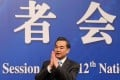 Wang Yi at the legislative meeting in Beijing. The foreign minister criticised what he called Japan's renewed militarism. Photo: Simon Song