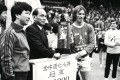 Short-sided soccer tournaments have been held in Hong Kong for decades, such as the Golden Ox Seven-A-Side event in 1985, in which tycoon Henry Fok Ying-tung handed over first prize to Dave Anderson of an English Combined team. Photo: SCMP Pictures