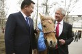 Chuck Hagel with the horse he received as a gift. Photo: AP