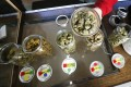 A volunteer displays jars of dried cannabis buds. Photo: Reuters