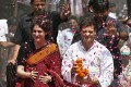 Rahul Gandhi (right) and his sister Priyanka Gandhi Vadra are showered with rose petals by their supporters upon Rahul's arrival to file his nomination for the general election at Amethi, northern Indian state of Uttar Pradesh. Photo: Reuters