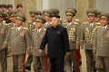 North Korean leader Kim Jong-un (centre) with military leaders in Pyongyang. Photo: EPA