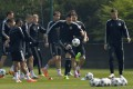 Chelsea players, including captain John Terry (right), train ahead of their match against Atletico Madrid. Photo: Reuters