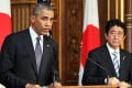 US President Barack Obama attends a press conference with Japanese Prime Minister Shinzo Abe at the Akasaka state guesthouse in Tokyo. Photo: AFP