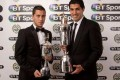 Eden Hazard and Luis Suarez with their awards. Photo: PFA
