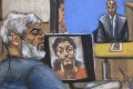 An artist's sketch of Abu Hamza sitting in a New York courthouse while a picture of shoe bomber Richard Reid is seen on a computer screen and Saajid Badat is questioned via teleconference. Photo: Reuters