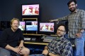 The Simpsons show editor Mike Bridge (from left), executive producer Matt Selman and co-executive producer Brian Kelley pose with a segment of upcoming Lego episode shown on the editing bay in 20th Century Fox Studios in Los Angeles. Photo: Reuters