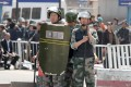 Armed police at the scene of the explosion in Urumqi. Photo: Simon Song