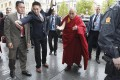 Tibetan spiritual leader the Dalai Lama arrives in Oslo on Wednesday. Photo: EPA