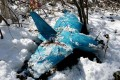 A crashed unmanned drone lies on a mountain in Samcheok, South Korea. Photo: AP
