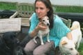 Katie Heyring with the four dogs which were with her when Charlie the dog was attacked and killed by a python in the Sai Kung countryside.