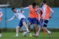 Argentina's Lionel Messi (left) in action during a training session of the national team in Ezeiza, Buenos Aires. Photo: EPA
