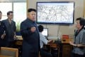 This file image shows North Korean leader Kim Jong-un inspecting the offices of the Hydro-meteorological Service in Pyongyang. Photo: AFP