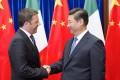 Italian Prime Minister Matteo Renzi with Chinese President Xi Jinping in Beijing on Wednesday. Photo: Xinhua