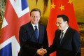 Britain's Prime Minister David Cameron (left) and Chinese Premier Li Keqiang meet in Beijing last December. Photo: EPA