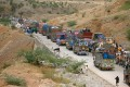 Vehicles line up at a security checkpoint as they arrive in northwest Pakistan's Bannu on Thursday. Photo: Xinhua