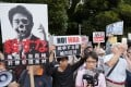 Protest against Japanese Prime Minister Shinzo Abe's collective self-defense policy. Photo: EPA