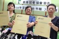 (From left) Mak Yin-ting, Sham Yee-lan and Shirley Yam present the report. Photo: SCMP
