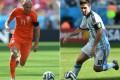 Arjen Robben and Lionel Messi. Photo: AFP